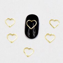 BELESHINY 100psc 3D DIY Nails Art Decorations,gold and silver heart-shaped Accessories manicure LK0014