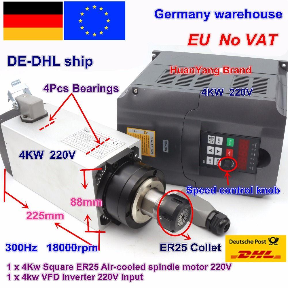 Freies MEHRWERTSTEUER Platz 4kw ER25 luftgekühlten Spindel Motor 4 lager & 4kw VFD Inverter 220V für CNC Router gravur Fräsen Maschine