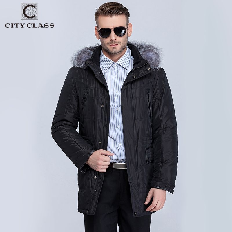 CITY CLASS New Thick Warm Winter Jacket Men Overcoat Fashion Casual Isosoft Removable Linning Silver Fox Hat Free Shipping 14363