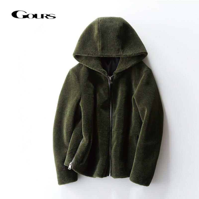 Gours Genuine Shearling Jackets for Women Natural Wool Real Fur Overcoats with Hooded Thick Warm In Winter New Arrival 1018-2