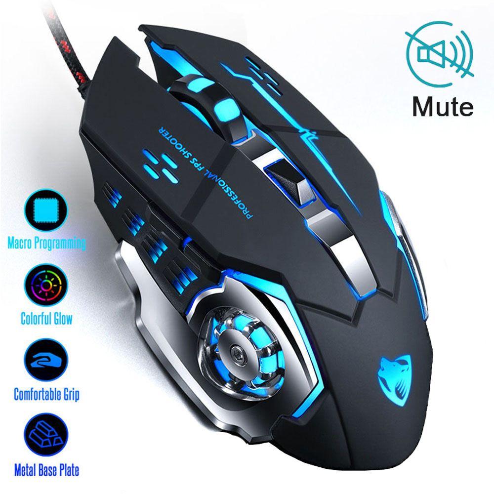 Souris de jeu professionnelle 8D 3200DPI réglable filaire optique LED ordinateur Gamer jeu souris USB câble silencieux souris d'ordinateur portable PC