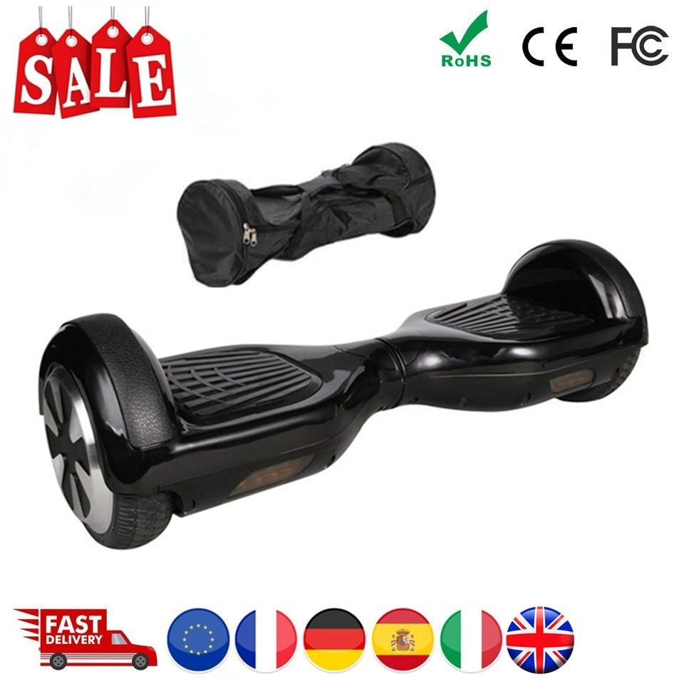 Black Hoverboard 6.5 Inch Self Balancing Scooter With Bag Overboard Electric Scooter Electric Skateboard Electric Hoover Board