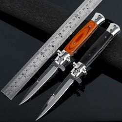 Folding blade knife High hardness blade  wood handle camping knife outdoor stainless steel knives free shipping