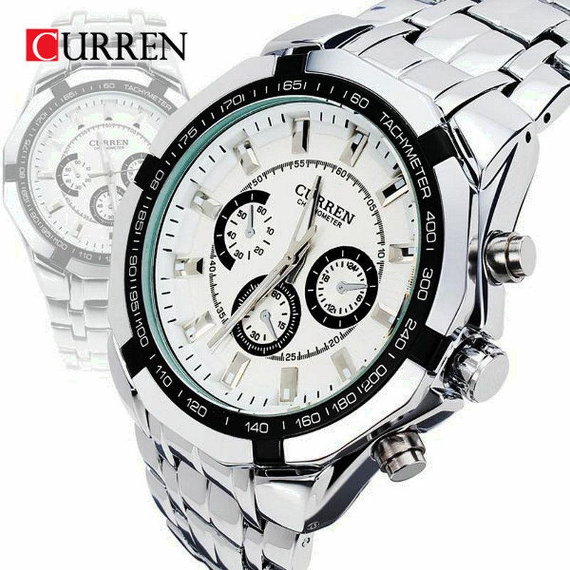 Curren Brand <font><b>Fashion</b></font> Men's Full stainless steel Military Casual Sport Watch waterproof relogio masculino quartz Wristwatch Sale