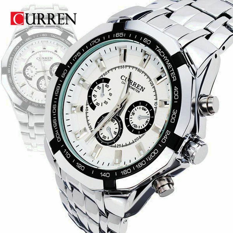 Curren <font><b>Brand</b></font> Fashion Men's Full stainless steel Military Casual Sport Watch waterproof relogio masculino quartz Wristwatch Sale