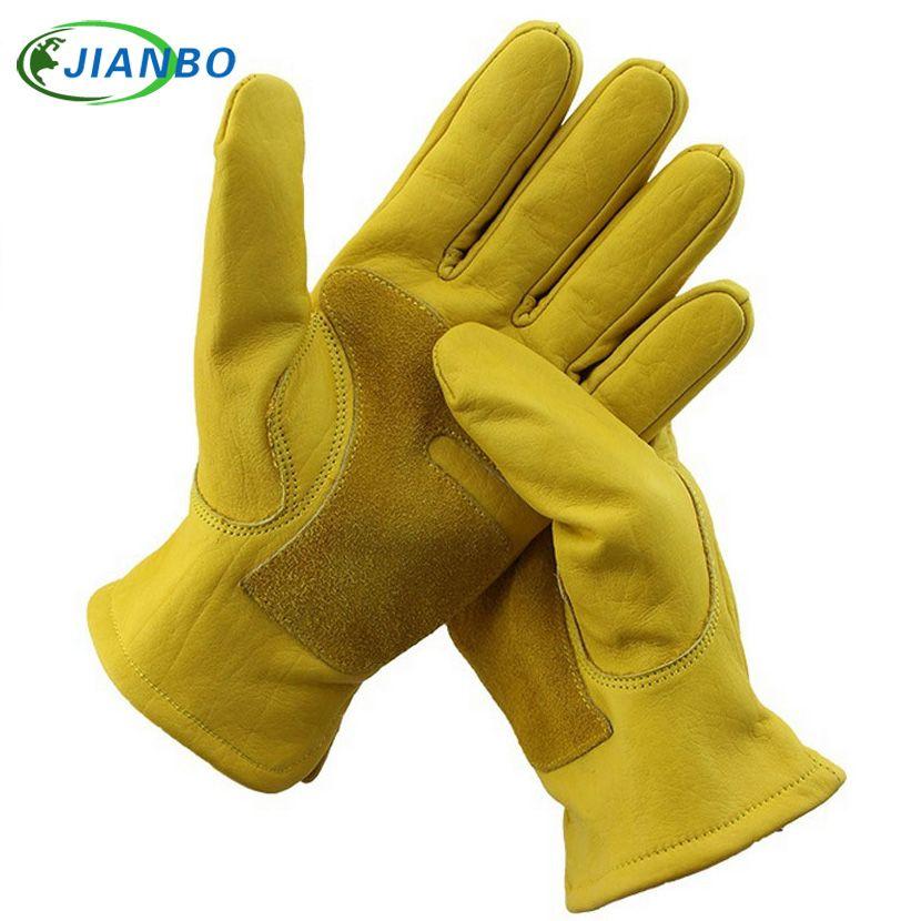 Mécanicien pilote hommes Moto gants de travail étanche sécurité gants de jardin en cuir soudage protection peau de vache course gants de jardin