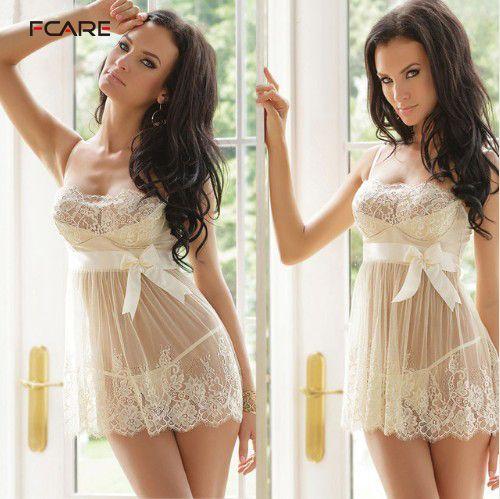 Fcare 2016 grande taille XL, XXL, XXXL, XXXXL, 5XL, 6XL robe + g string blanc érotique sexy lingerie dentelle chaude