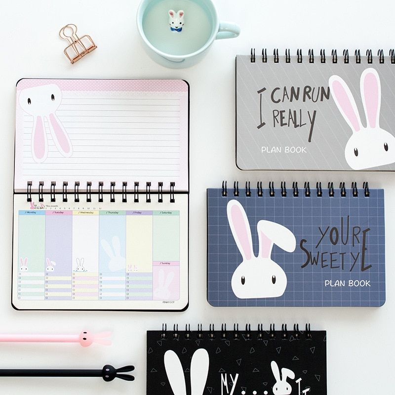 Free Shipping 2018 Limited 80 Sheets Organizador Lovely Rabbit Learning Efficiency Plan Planner Coil Book Notebook Calendar