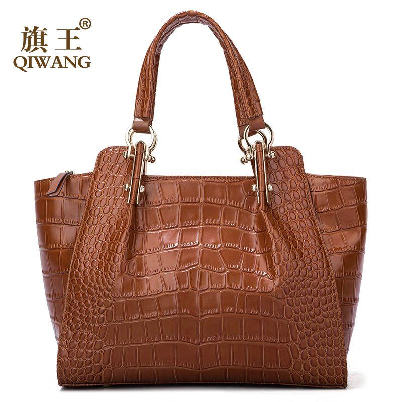 Qiwang Kate Damen Hand Taschen Authentischen Rindsleder Braun Tasche Frauen Krokodil Leder Große Handtasche Mode Luxus Tote Schulter Taschen