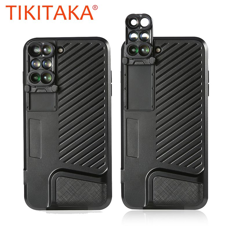 Hot Camera Lens Phone Cases For iPhone 7 Plus Case Portable 6 in 1 360 Wide Angle Fisheyes Telephoto Macro Lens Shockproof Armor