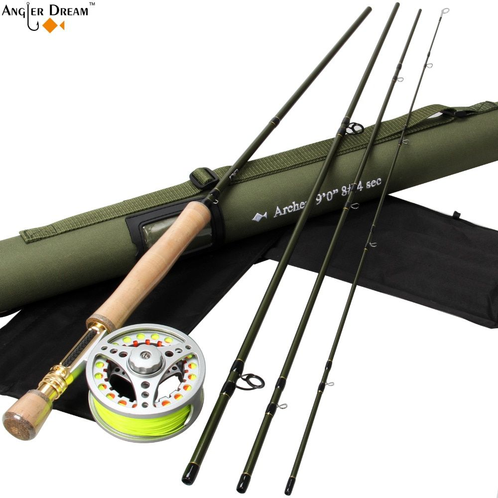 Fly Fishing Set 9FT 8WT Carbon Fiber Fly Fishing Rod with 7/8WT Aluminum Fly Fishing Reel with Line Backing Leader
