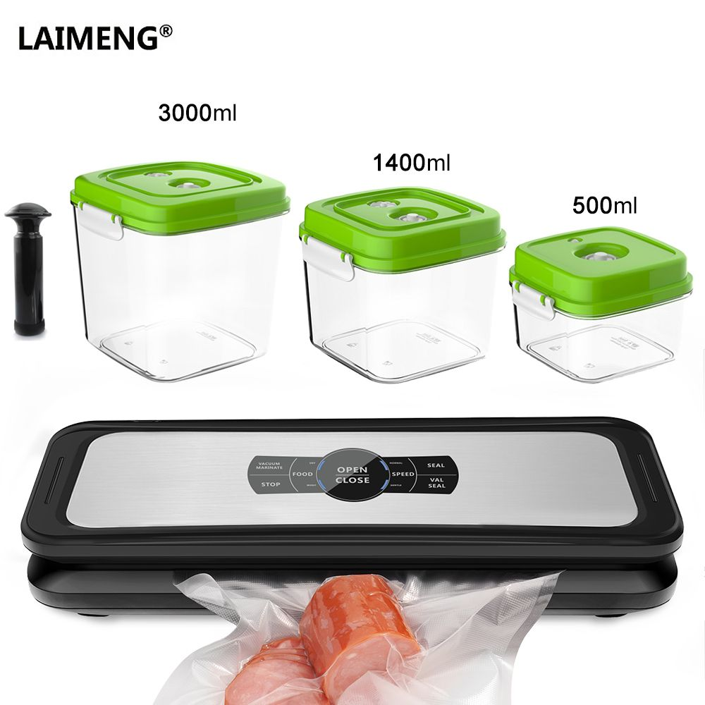 LAIMENG Vacuum Sealer Automatic Sealing Machine Vacuum Packer Packaging Plastic Vacuum Container Bags Kitchen Storage S233