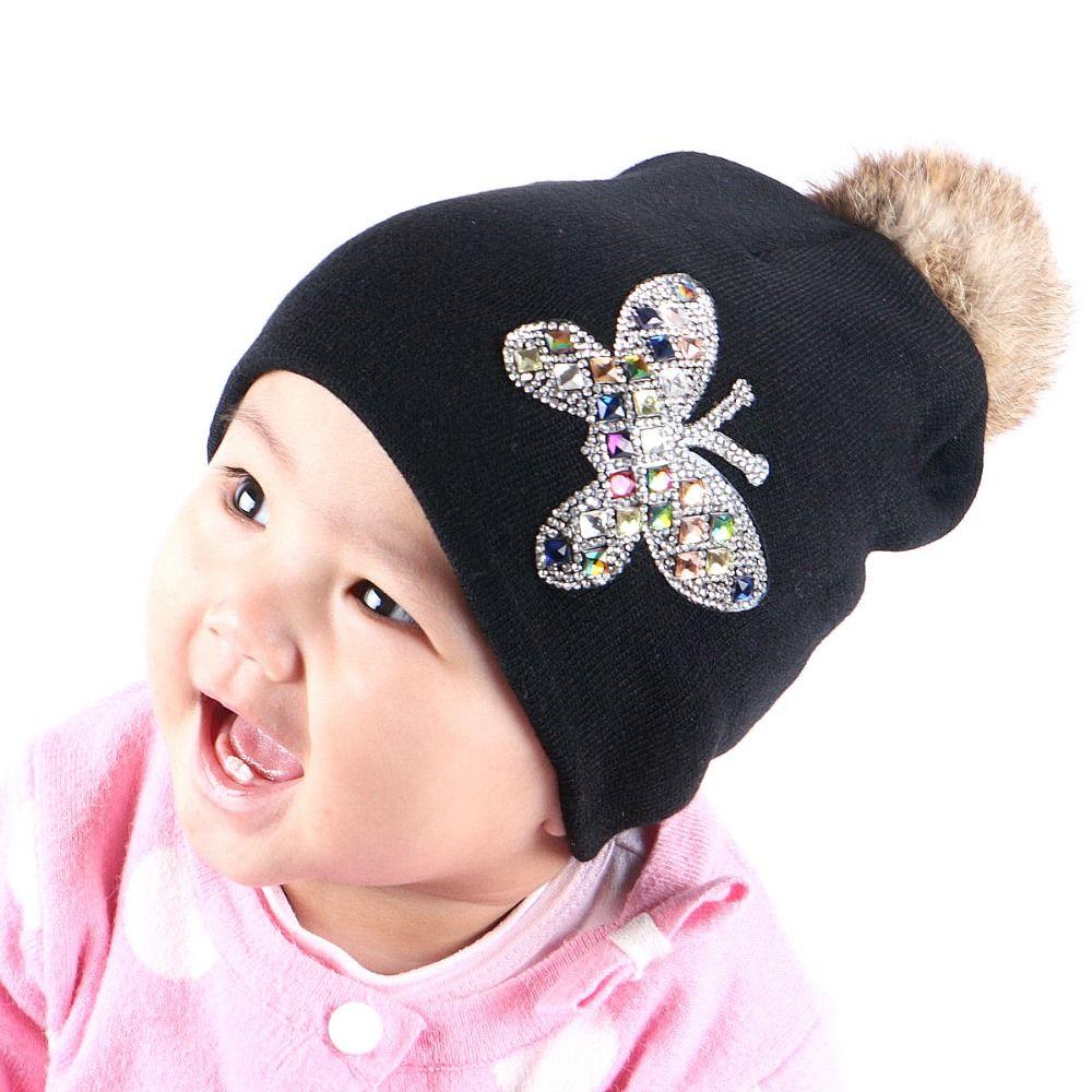 От 0 до 2 лет Детские красоты шапочка 100% хлопок теплые зимние шапки для мальчиков и девочек Подлинная кролика помпон Дети Skullies Марка gorros
