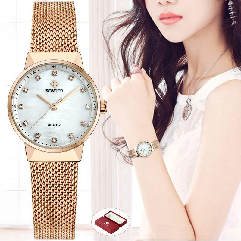WWOOR femmes montres Quartz étanche Rose or robe dames montre femmes marque de luxe maille Bracelet montre-Bracelet Relogio Feminino