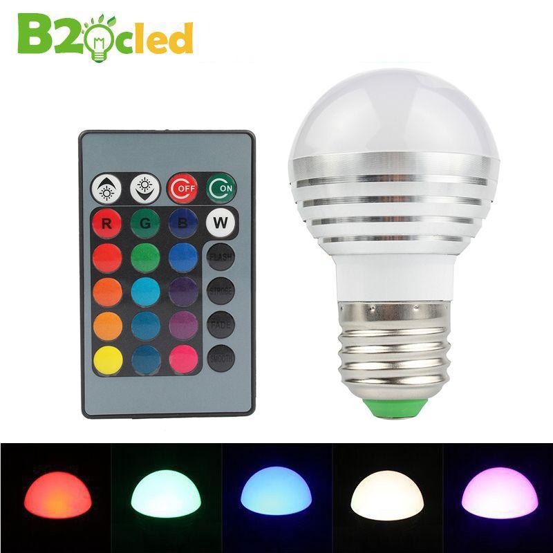 2 Stücke 3 Watt RGB lampe licht E27 mit fernbedienung glühbirne energie energiespartyp speicher lampe RGB bunte glühbirne lampe LED Farbe licht