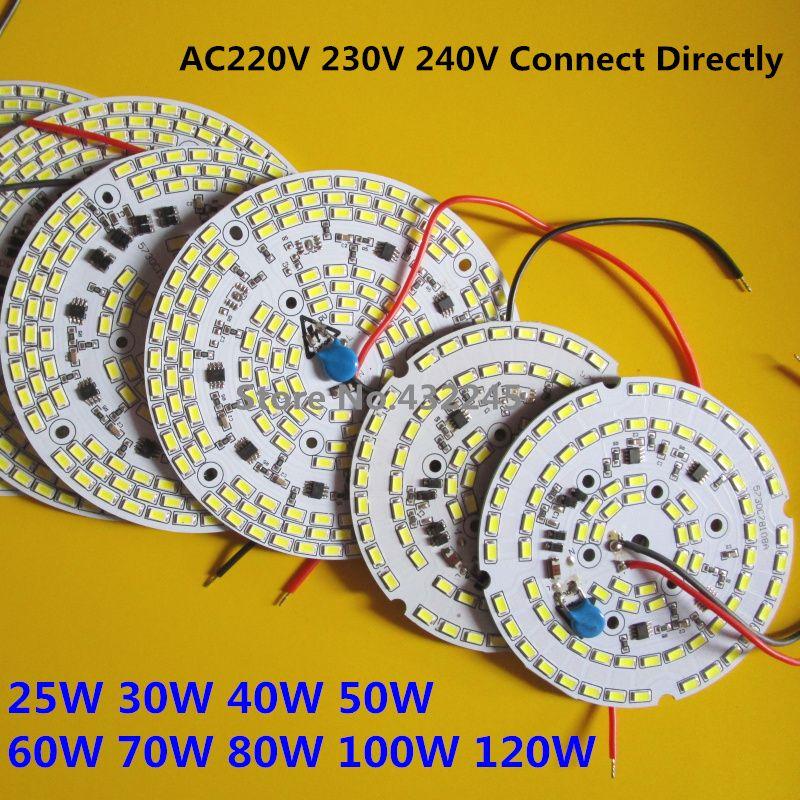 Livraison Gratuite 2 pcs Dimmable SMD 5730 Intégré IC PCB Ampoule Panneau 25 w 30 w 40 w 50 w 60 w 70 w 100 w Sans Pilote Led PCB Lumière.