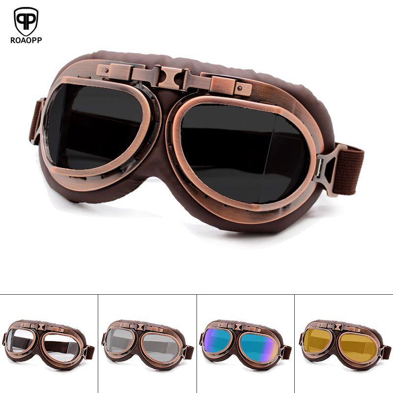 Roaopp rétro Moto lunettes lunettes Vintage Moto classique lunettes pour Harley pilote Steampunk ATV vélo cuivre casque