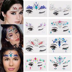 1 Pcs Temporary Adhesive Face Jewelry Festival Party Eyes Gems Rhinestone Flash Tattoos Body Art Stickers Make Up Beauty Tools