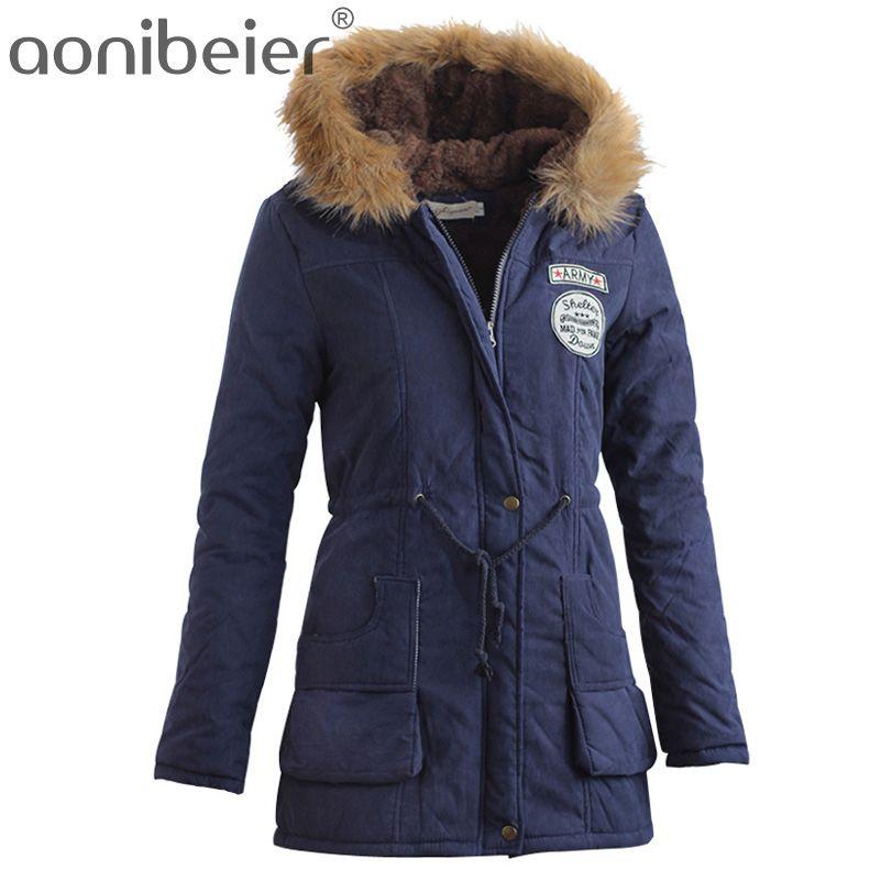 Aonibeier Parkas Femmes Manteaux Mode Automne Chaud D'hiver Vestes Femmes Col De Fourrure Longue Parka Plus La Taille Hoodies Coton Outwear