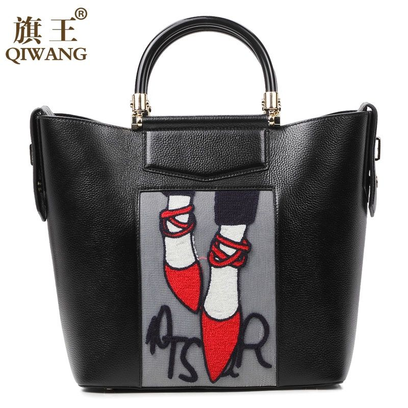Qiwang Embroidery Handbag Woman Luxury <font><b>Fashion</b></font> Shoes Bag Real Leather Tote Bag Paris Brand Designer Handbag France <font><b>Fashion</b></font> Bag