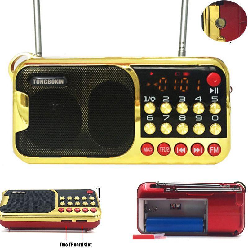 C-851 Avec 2 Fente Pour Carte TF 2 FM Antenne 2 18650 Batterie fente FM radio Haut-Parleur USB Lecteur de Disque Avec 3.5mm Port Et LED lampe de poche