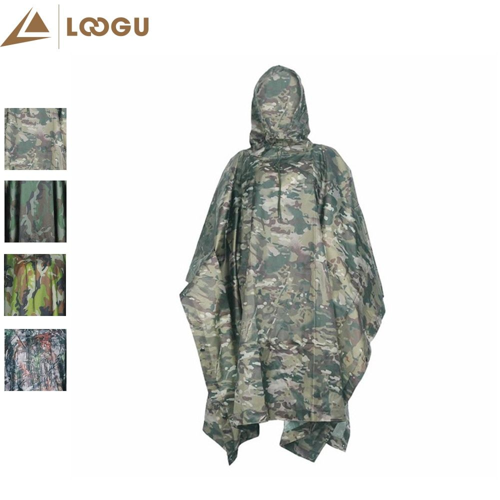 Military PU Camo Poncho Ligthweight Multifunctional Outdoor Sport Raincoat Waterproof Raincover Cyclin Climbing Camping Hiking
