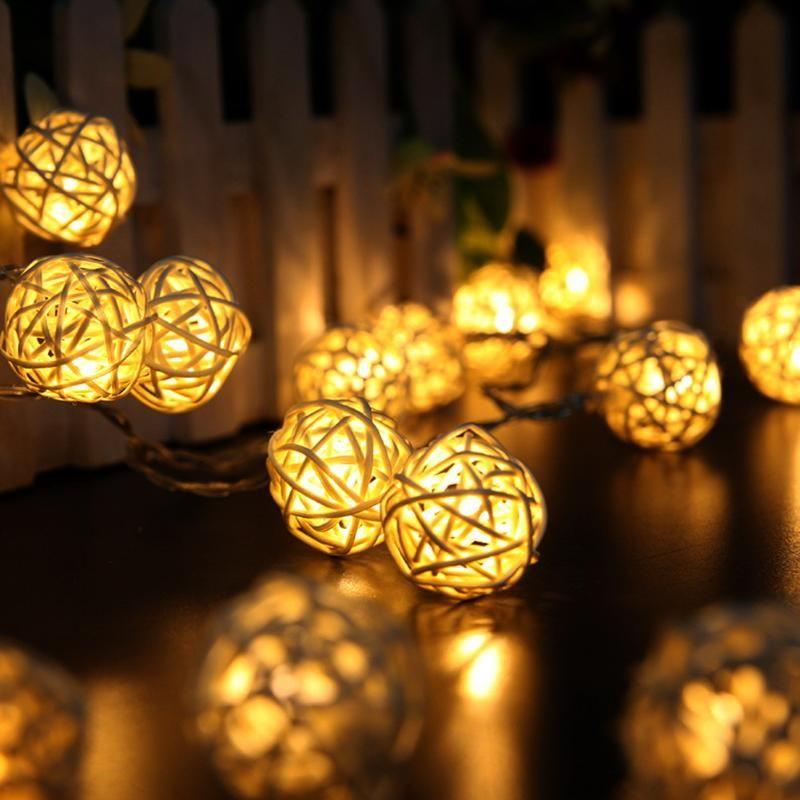 Рождество огни 2 м 20 светодиодные фонари ротанга Мячи строка огни гирлянды для вечеринки Свадебные украшения Украшения Рождество поставки