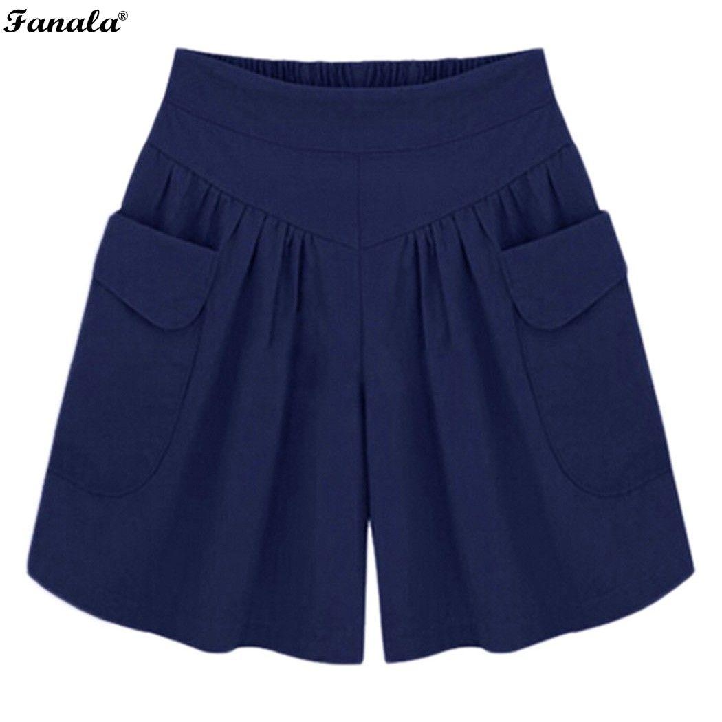 2017 mujeres Del Verano más la Corto XL-4XL 5XL pantalones Anchos de La Pierna Cortocircuitos femeninos Flojos Ocasionales de Las Señoras de Color Caqui de cintura Alta pantalones delgados #30