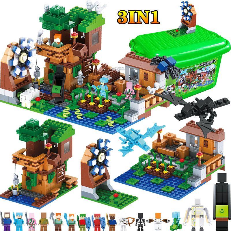 3 IN 1 My World Series Compatible LegoINGLY Minecraft Luxury Tree House Village Farm Building Blocks Windmill Brick Kids Toy