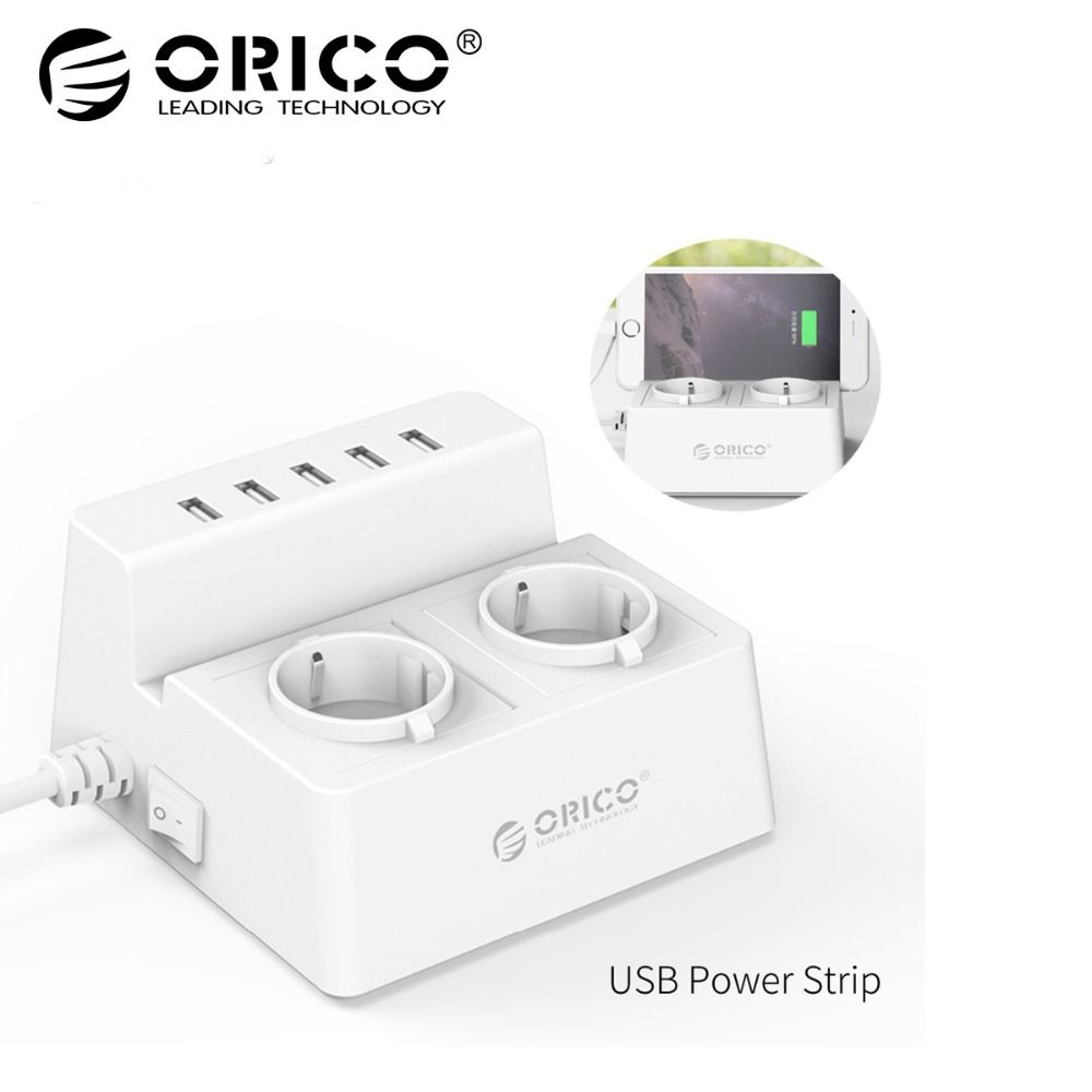 <font><b>ORICO</b></font> ODC-2A5U-V1 Smart Charging Desktop Charger with 2 AC Outlets and 5 USB Ports for Phones,iPhone 7,Tablets and Desktops