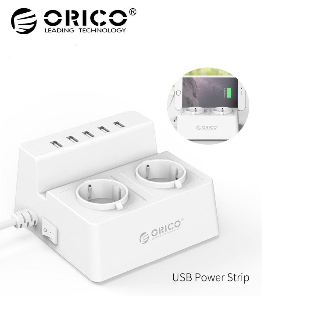 ORICO ODC-2A5U-V1 Smart <font><b>Charging</b></font> Desktop Charger with 2 AC Outlets and 5 USB Ports for Phones,iPhone 7,Tablets and Desktops