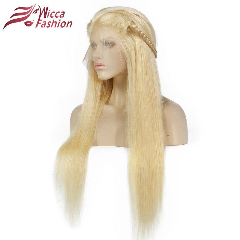 Rêve Beauté Complet Blonde 613 # Couleur Brésilien Remy de Cheveux Humains dentelle Perruques Densité 130% Cheveux Raides Dentelle Perruque Avec Des Cheveux de Bébé