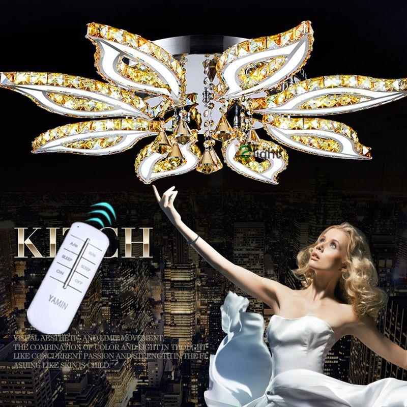 Fernbedienung Dimmbare Luxury Lustre De Cristal K9 Led Bauhinia Kronleuchter Moderne Vernickelt Spiegel Stahl Kronleuchter