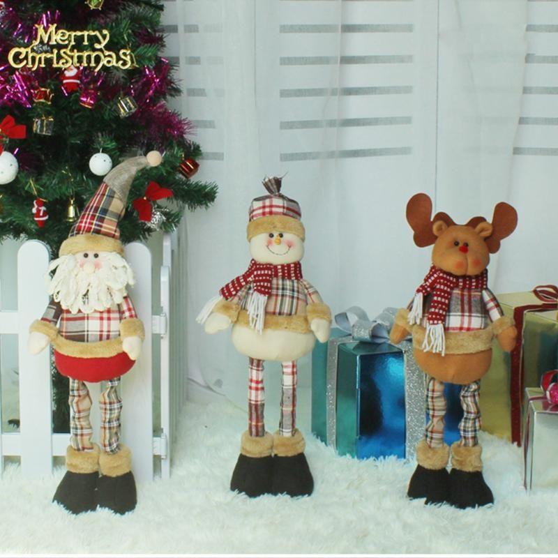 Retractable Christmas Santa Claus Snowman Reindeer Doll Kid Gift navidad Xmas Tree Ornaments Christmas Decorations for home