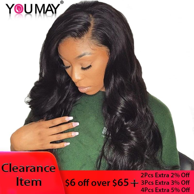 13x6 Lace Front Wig Brazilian Body Wave 150 Denstiy Full Ends Lace Front Human Hair Wigs For Women Black Color You May Remy Hair