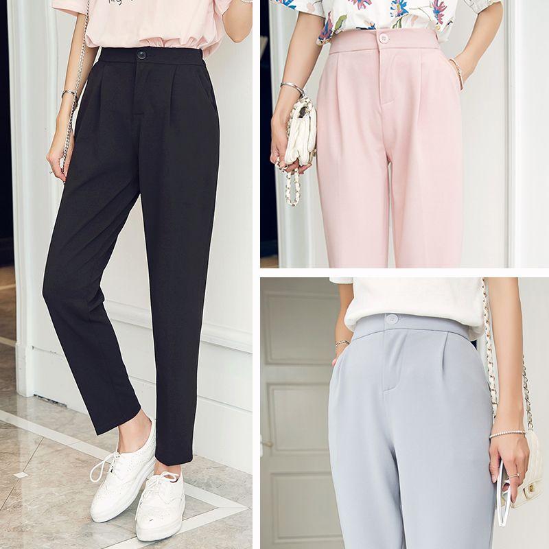 Harem Pantalon Femmes New Hot Mode Femmes Mode Cheville-longueur Pantalon Femelle Classique Haute Élastique Taille
