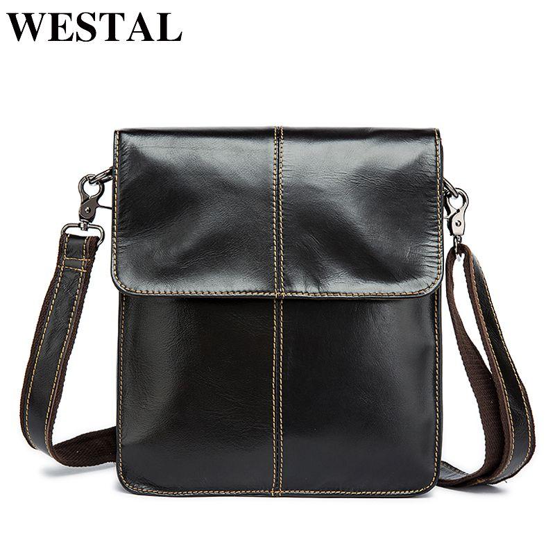 WESTAL Messenger Bag hommes sacs à bandoulière en cuir véritable petit rabat homme homme sac à bandoulière pour Messenger hommes en cuir sacs 8821