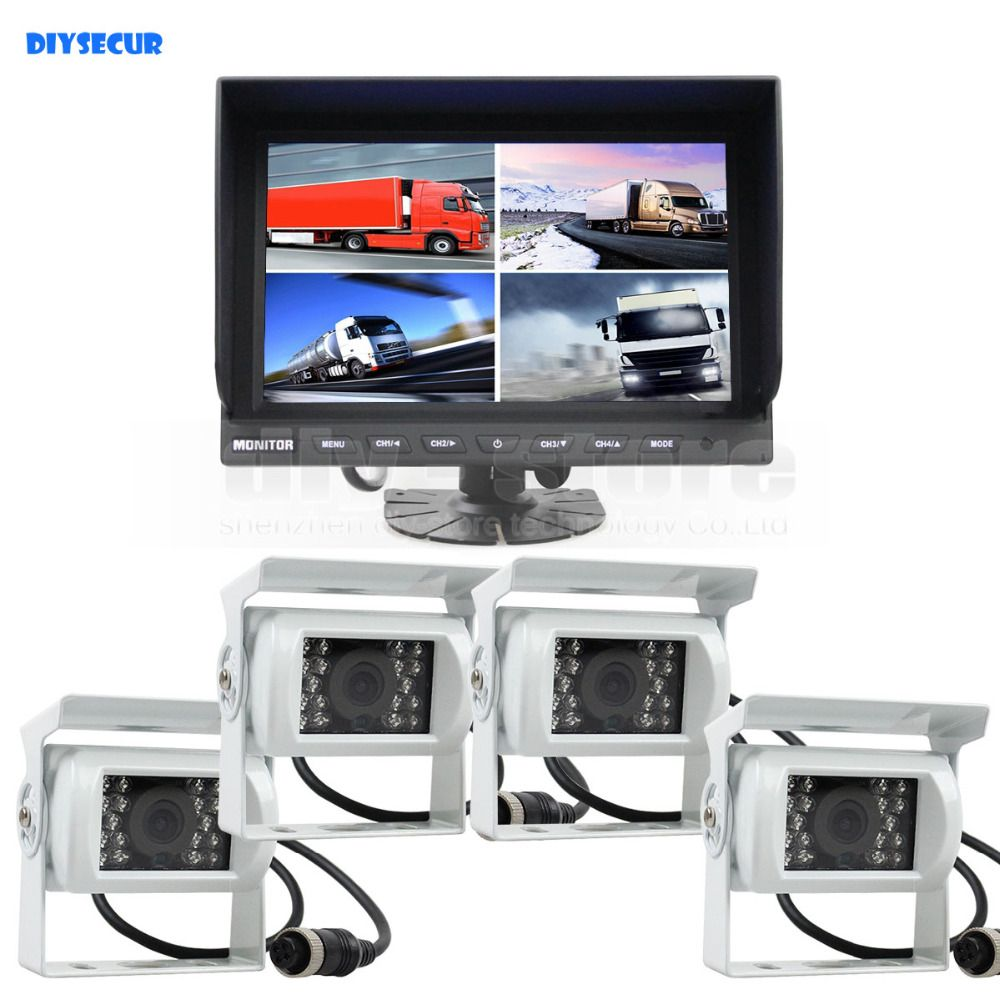 DIYSECUR 9Inch Split QUAD Car Monitor + 4 x IR Night Vision Rear View Car Camera Waterproof for Car Truck Bus Reversing Camera