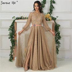 2019 arabischen Kleid Luxus Diamant Perlen Sparkle Abendkleider Lange SleevesFashion Sexy Abendkleider Ruhigen Hill LA6535