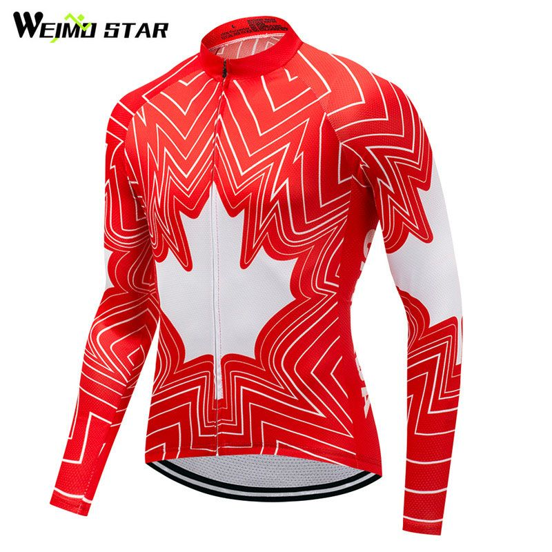 Weimostar 2018 Canada Racing Sport Team Cycling Jersey Long Jacket Autumn Men Bicycle Cycling Clothing Spring mtb Bike Jersey