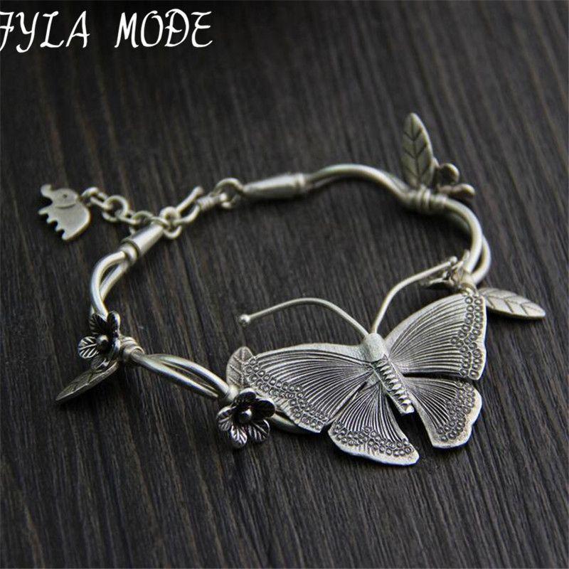 925 Thai argent multicouche fleur pendentif Bracelets et Bracelets de mode femmes éléphant papillon bracelet à breloques bijoux accessoires