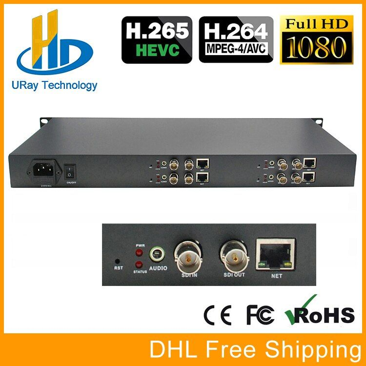 1U Chassis 4 Kanäle HD/3g SDI Zu IP Stream Encoder IPTV H.265/H.264 Hardware Encoder Für live-Streaming, IPTV