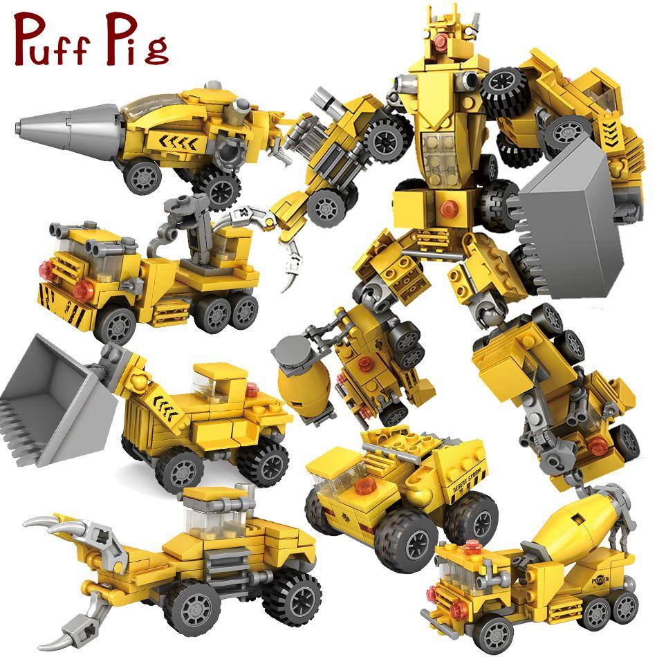 368 pcs 6 dans 1 Transformation Robot Série Ville Ingénieur Véhicules Blocs de Construction Compatible Legoed Technique De Voiture Jouets Pour Enfants