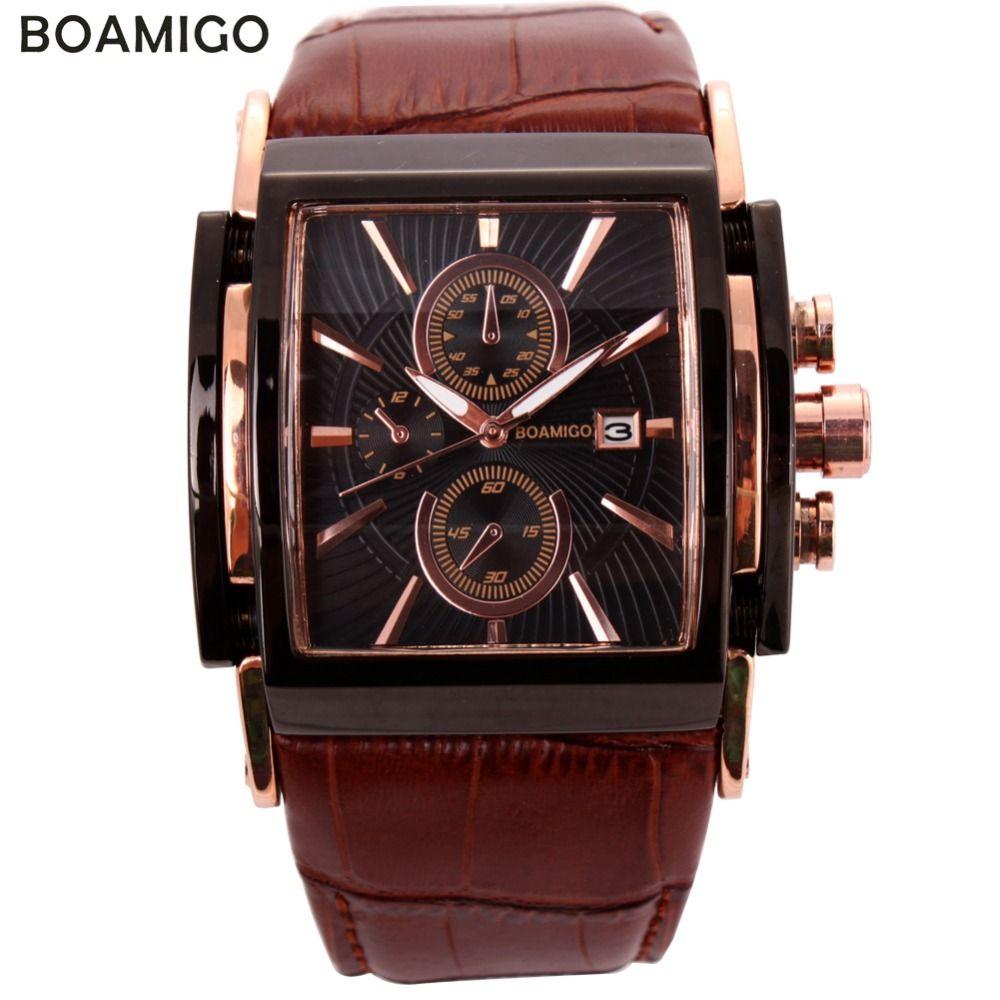 BOAMIGO hommes montres à quartz grand cadran mode décontracté sport montres or rose sous cadrans horloge brun en cuir montres pour homme