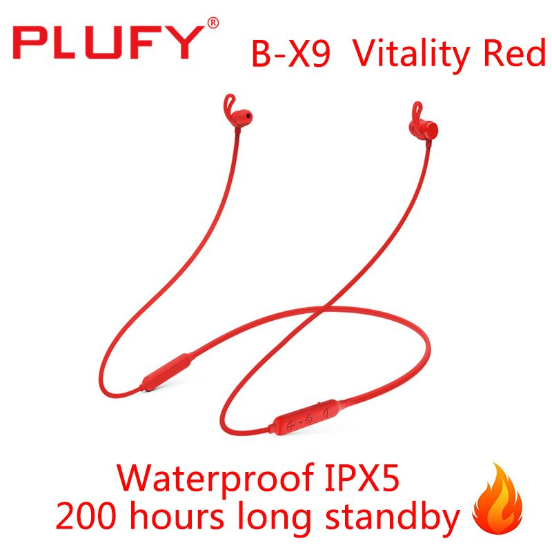 PLUFY All Red Earphones Wireless Headphone Bluetooth 200 Hours Long Standby Headphone Music Stereo Waterproof IPX5 Headset