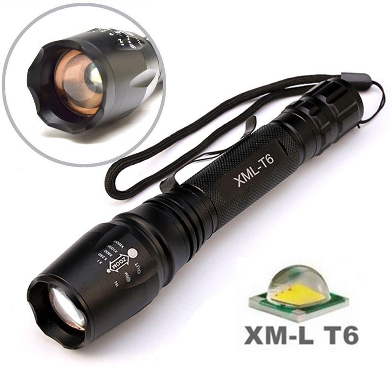 8000 Lumens lampe de poche 5-Mode CREE XM-L T6 lampe de poche LED étanche Zoomable Focus lampe torche torche par 2*18650 batterie