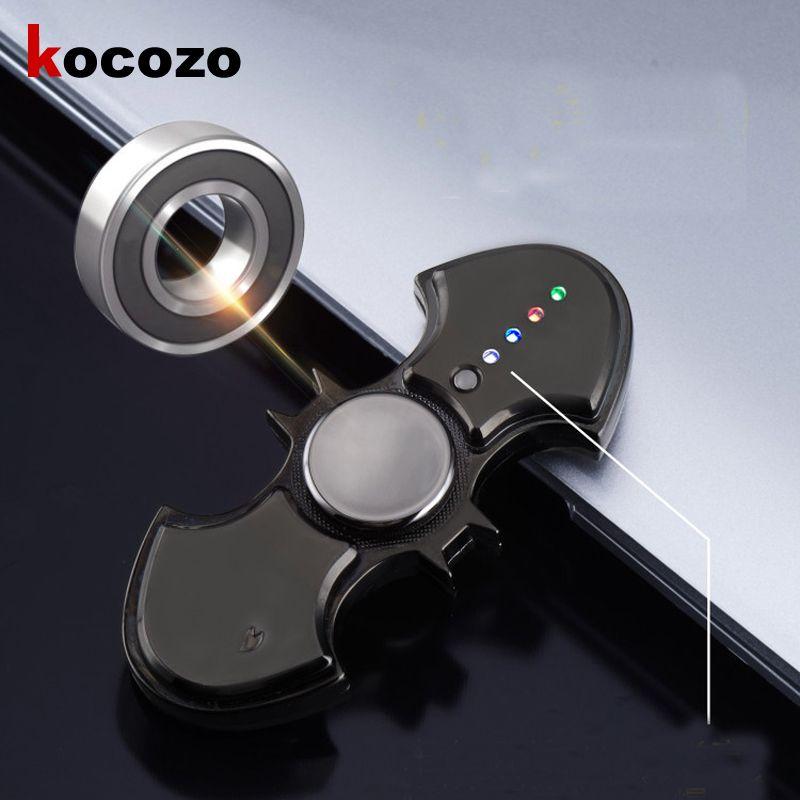 LED Fidget Spinner Bat Cigarette Electric Lighter USB Rechargeable Cool Light Up Hand Spinner Finger Fidget Spinner Adult Gift
