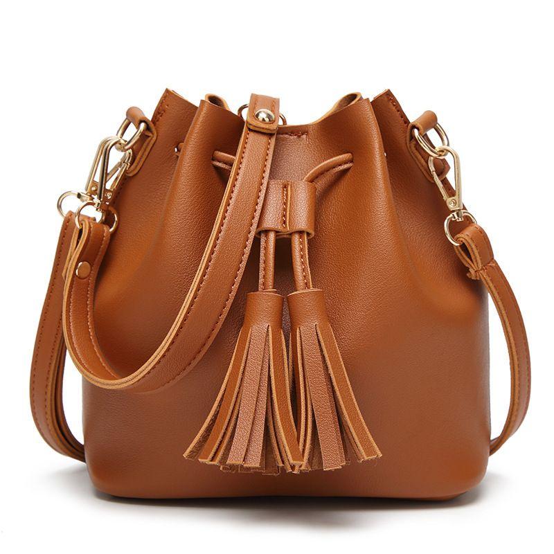 Kleine Frauen Umhängetasche Berühmte Marke Mini Eimer Tasche Crossbody Messenger Handtasche Quaste Handtasche und Kupplung Handtasche Kleine Tasche