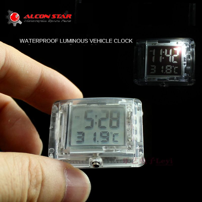 Alconstar- Motorcycle Luminous Vehincal Clock Motorbike ATV Electric Car Bicycle Watch for Honda for Yamaha with Temperature