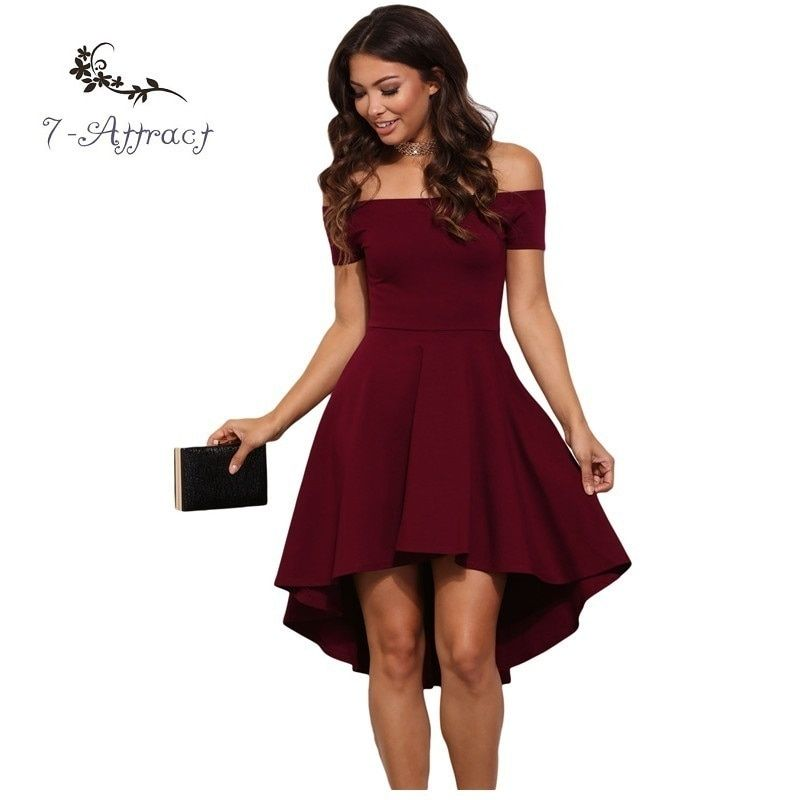 7-Attract Elegant 9-Color XXL Summer Party Club Sexy Off Shoulder Women Skater Red Midi Vestidos De Fiesta Backless Ladies Dress